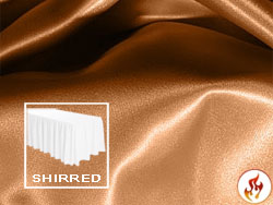 Flame Retardant Satin Lamour Shirred Table Skirt - 6FT  (3 Sides Covered) - 11FT Section - 2-Pack