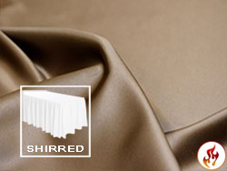 Flame Retardant Satin Lamour Shirred Table Skirt - 8FT  (3 Sides Covered) - 13FT Section - 2-Pack