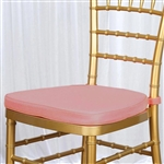 "2"" Thick Chair Seat Padded Sponge Cushion With Poly Thread Soft Fabric Straps and Removable Zippered Cover - Dusty Rose"