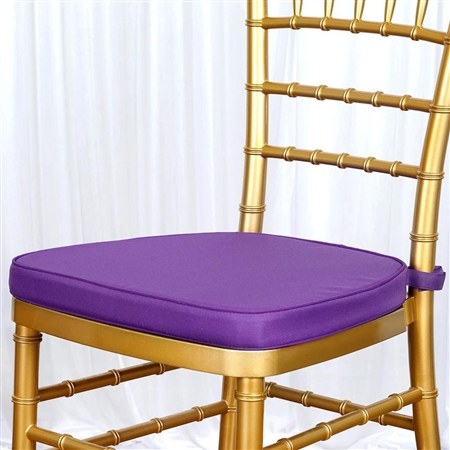 "2"" Thick Chair Seat Padded Sponge Cushion With Poly Thread Soft Fabric Straps and Removable Zippered Cover - Purple"