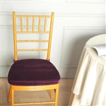 "2"" Thick Velcro Strap Chiavari Chair Cushion with Removable Velvet Cover - Burgundy"