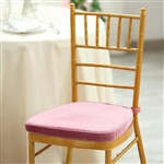 "2"" Thick Velcro Strap Chiavari Chair Cushion with Removable Velvet Cover - Dusty Rose"
