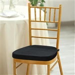 "2"" Thick Velcro Strap Chiavari Chair Cushion with Removable Velvet Cover - Black"