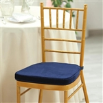 "2"" Thick Velcro Strap Chiavari Chair Cushion with Removable Velvet Cover - Navy Blue"