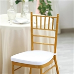 "2"" Thick Velcro Strap Chiavari Chair Cushion with Removable Velvet Cover - White"