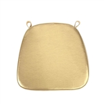 "2"" Thick Chair Seat Padded Sponge Cushion With Poly Thread Soft Fabric Straps and Removable Zippered Cover - Metallic Gold"