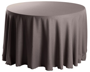 "Premium Faux Burlap 126"" Round Tablecloth."