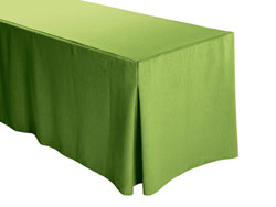 "Faux Burlap Fitted Tablecloth 30""x72""x29"" w/ Pleated Corners – 6FT Rectangular Table"