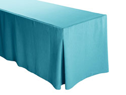 "Faux Burlap Fitted Tablecloth 30""x96""x29"" w/ Pleated Corners – 8FT Rectangular Table"