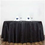 "Black 117"" Crinkle Taffeta Round Tablecloth"