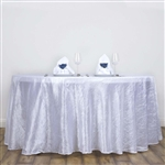 "White 117"" Crinkle Taffeta Round Tablecloth"