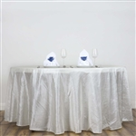 "Ivory 117"" Crinkle Taffeta Round Tablecloth"