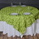 "72""x72"" Grandiose Rosette Table Overlays - Apple Green"