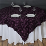 "72""x72"" Grandiose Rosette Table Overlays - Eggplant"