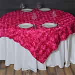 "72""x72"" Grandiose Rosette Table Overlays - Fushia"