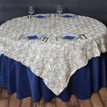 "72""x72"" Grandiose Rosette Table Overlays - Ivory"