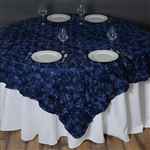 "72""x72"" Grandiose Rosette Table Overlays - Navy Blue"