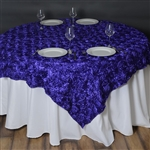 "72""x72"" Grandiose Rosette Table Overlays - Purple"