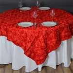 "72""x72"" Grandiose Rosette Table Overlays - Red"