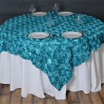 "72""x72"" Grandiose Rosette Table Overlays - Turquoise"