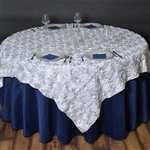 "72""x72"" Grandiose Rosette Table Overlays - White"