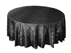 "132"" Round Tablecloth Pintuck - Black"