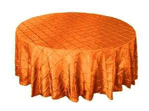 "132"" Round Tablecloth Pintuck - Orange"