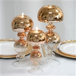 Chrome Gold Mushroom Ombre Glass Candle Holder Centerpiece - 12"