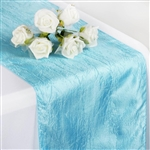 Crinkle Taffeta Table Runner - Lt. Blue