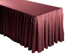 Herringbone Polyester Box Pleat Table Skirt - 6FT  (3 Sides Covered) - 11FT Section