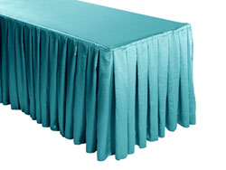Herringbone Polyester Box Pleat Table Skirt - 6FT  (4 Sides Covered) - 17FT Section