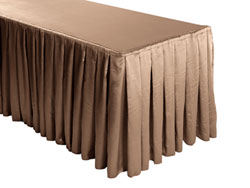 Herringbone Polyester Box Pleat Table Skirt - 8FT  (3 Sides Covered) - 13FT Section