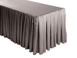 Herringbone Polyester Box Pleat Table Skirt - 8FT  (4 Sides Covered) - 21FT Section