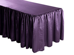 Herringbone Polyester Shirred Table Skirt - 6FT  (3 Sides Covered) - 11FT Section