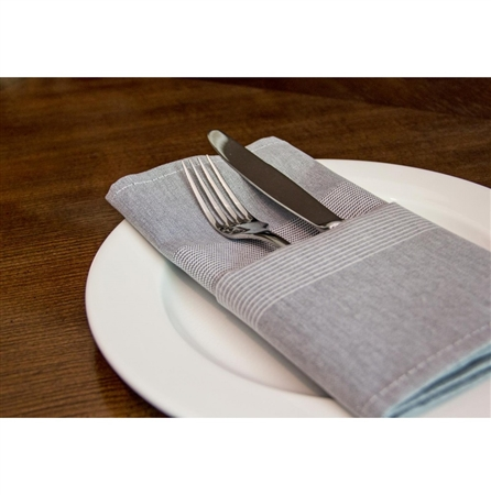 "18"" x 22"" Milliken Signature Transitions Stripe Napkin - Black - 12-Pack"