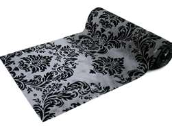 "Flocking Damask fabric bolt 12"" x 10Yards - Silver / Black"