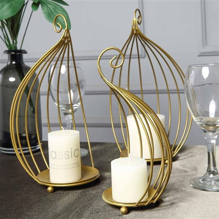 "11"" Gold Metal Candle Place Cards Holders - Set of 3"