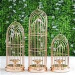 Gold Metal Cage Pillar Candle Holder Wedding Centerpiece - 13"