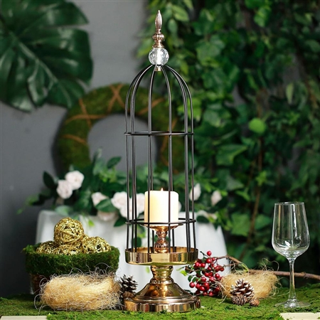 "24"" Tall Gold/Black Metal Cage Votive Candle Holder With Crystal Baroque Top"