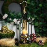 "17"" Tall Gold/Black Bird Cage Candle Holder with Glass Centerpiece"