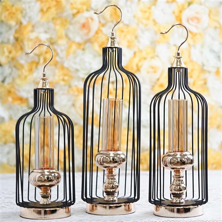 Tall Gold/Black Bird Cage Candle Holder with Glass Centerpiece - 17"