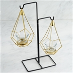 "8"" Gold Hanging Geometric Tealight Candle Holders with 14"" Tall Black Iron Stand - Pack of 2"