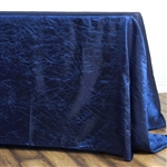 Navy Crinkle Taffeta Tablecloth 90x132""