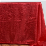 Red Crinkle Taffeta Tablecloth 90x132""