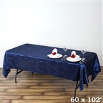 Navy Crinkle Taffeta Tablecloth 60x102""