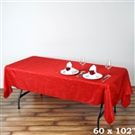 Red Crinkle Taffeta Tablecloth 60x102""