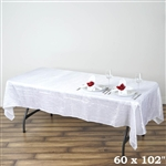 White Crinkle Taffeta Tablecloth 60x102""
