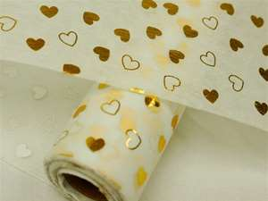 "HEART SHOWER Non-Woven Fabric Bolt White/Gold 19""x10Yards"