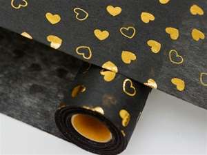 "HEART SHOWER Non-Woven Fabric Bolt Black/Gold 19""x10Yards"
