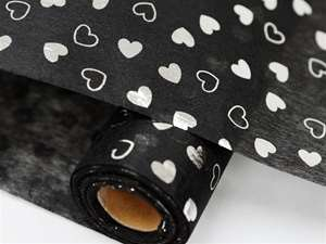 "HEART SHOWER Non-Woven Fabric Bolt Black/Silver 19""x10Yards"